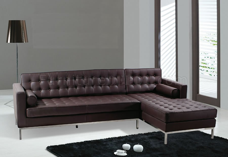 White, Black Or Brown Button-Tufted Leather Sectional Sofa