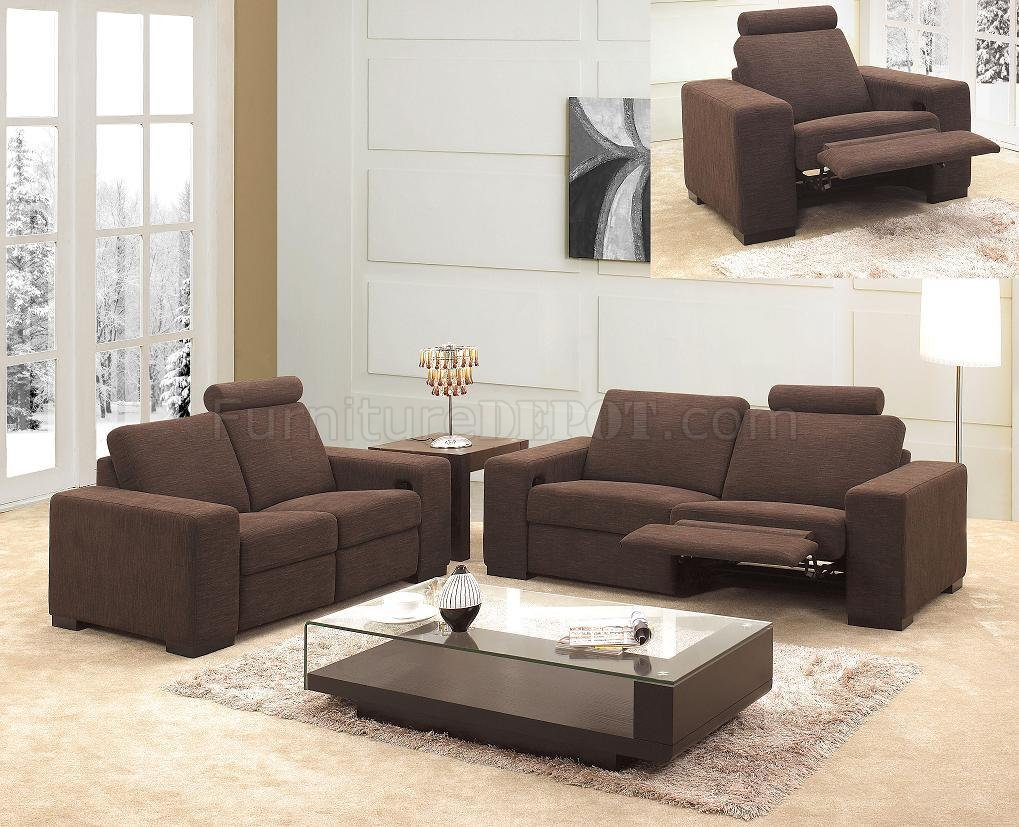 Brown microfiber fabric modern 3pc reclining living room set