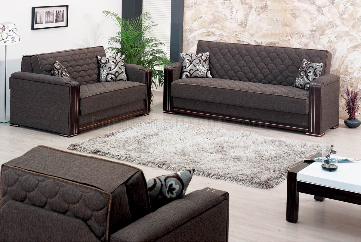 Oregon sofa bed in dark brown fabric w optional chair loveseat