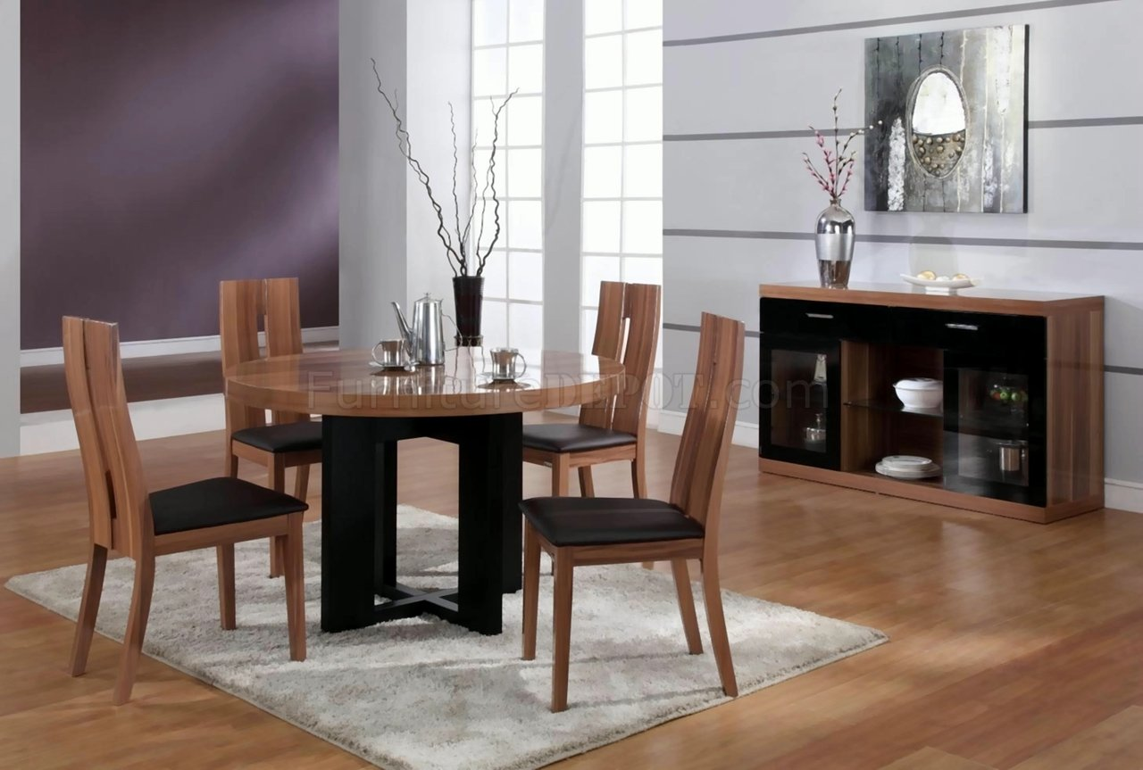 Matt walnut finish modern round dining table w optional items for Modern dining room table