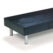 Cappuccino Finish Artistic Coffee Table on Tube Metal Legs