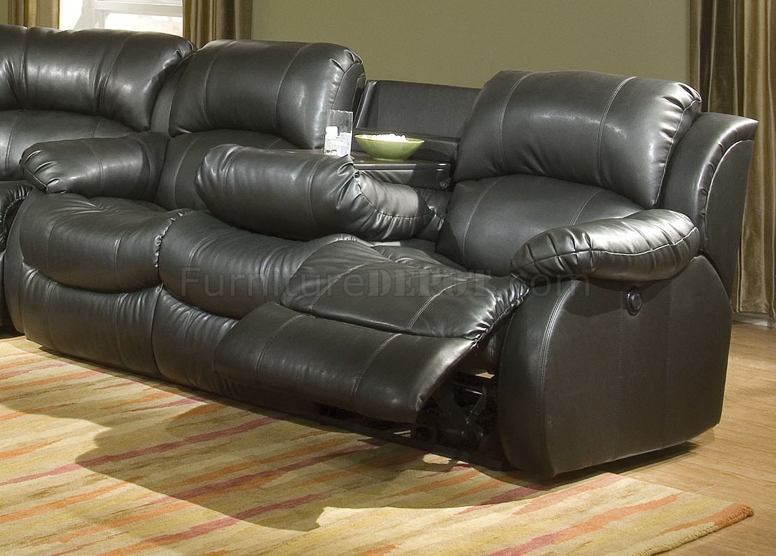 Transitional Black Bonded Leather Sectional w/Recliner Mechanism