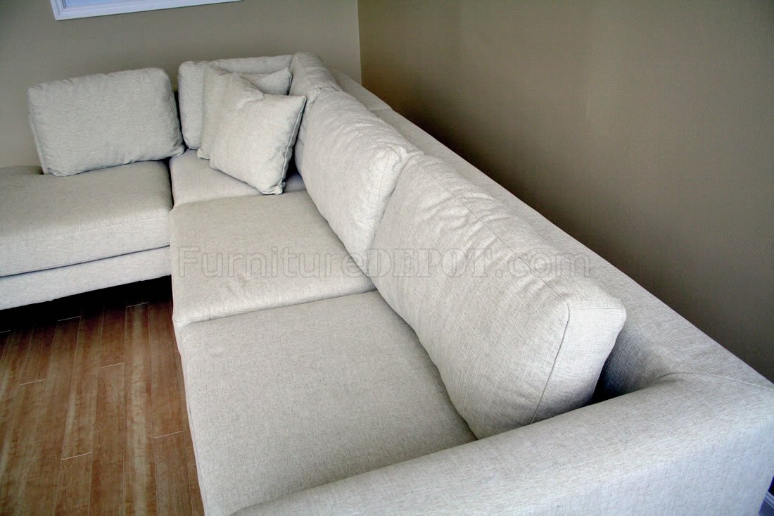 Fabric Sectional Sofa with Metal Legs
