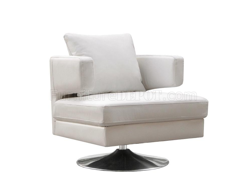 White chocolate or black leather modern swivel club chair for Modern leather club chair