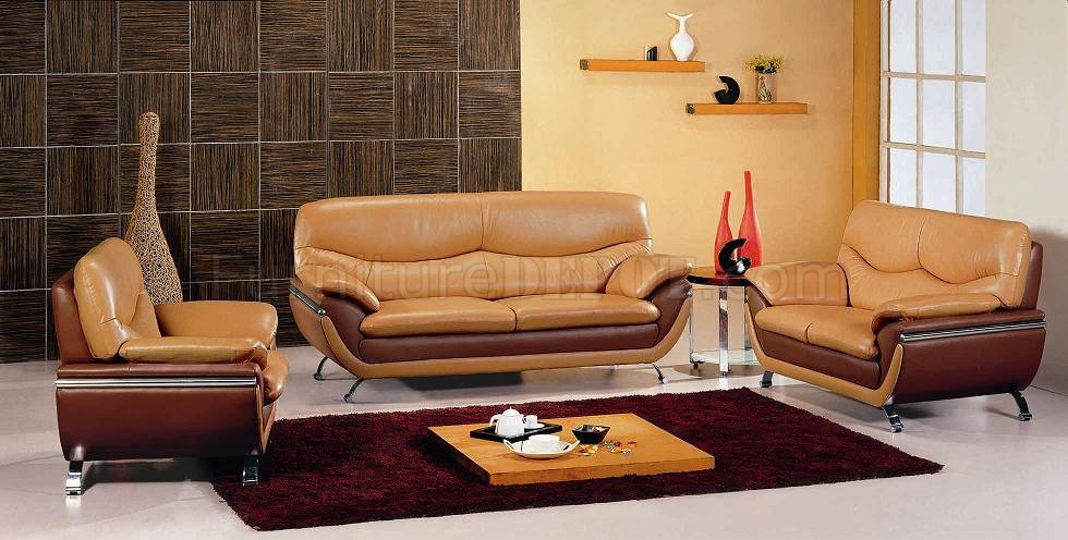 Camel Brown Two Tone Leather Modern 3pc Living Room Set
