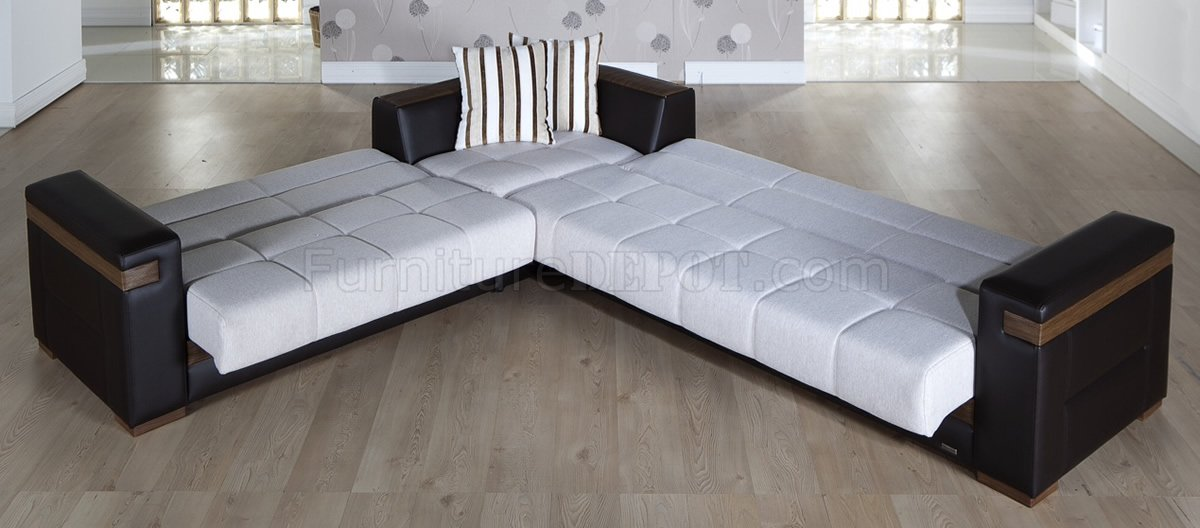 Cream Fabric U0026 Dark Leatherette Convertible Sectional Sofa Bed
