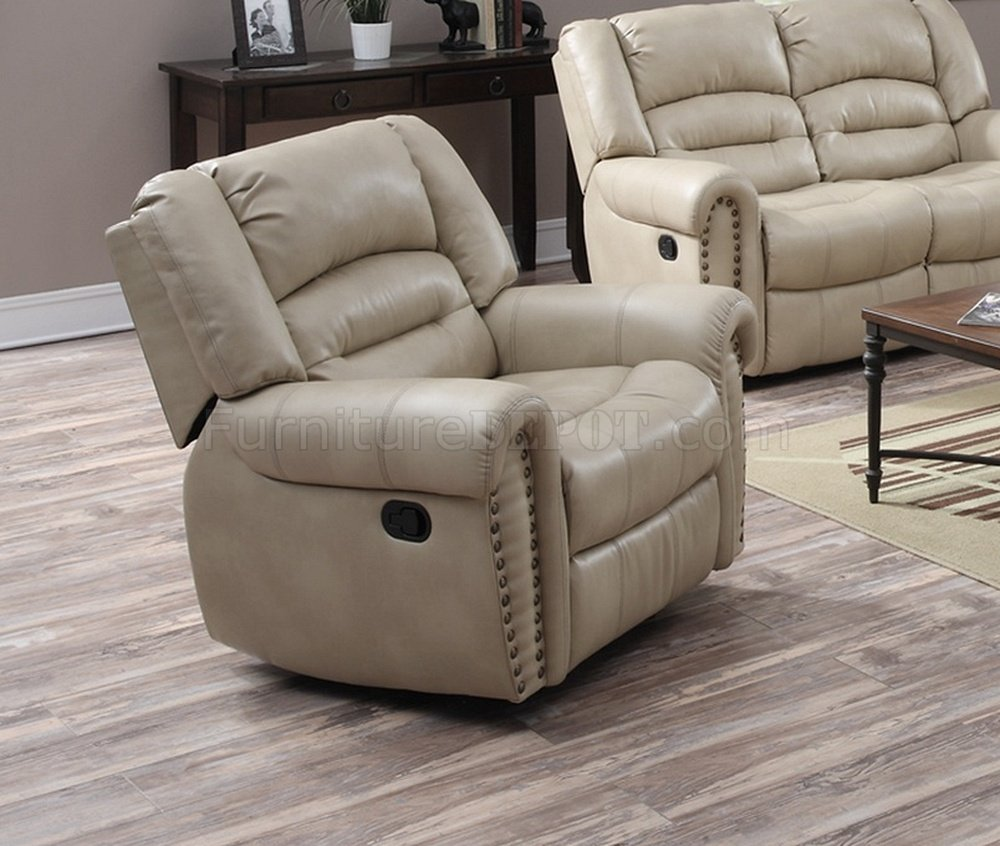 G687 Motion Sofa Loveseat In Beige Bonded Leather By Glory