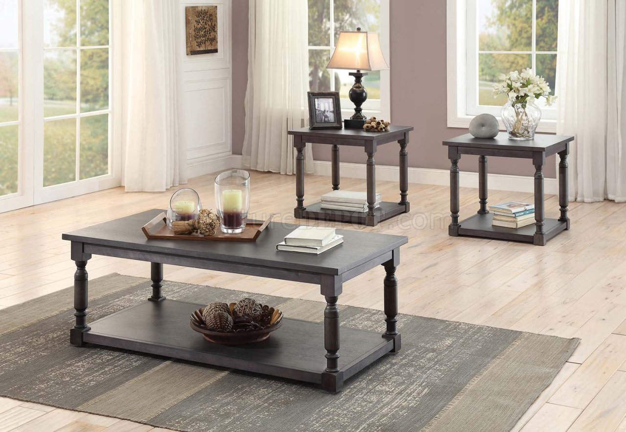 amaryllis 3560 31 coffee table 3pc set dark grey by homelegance