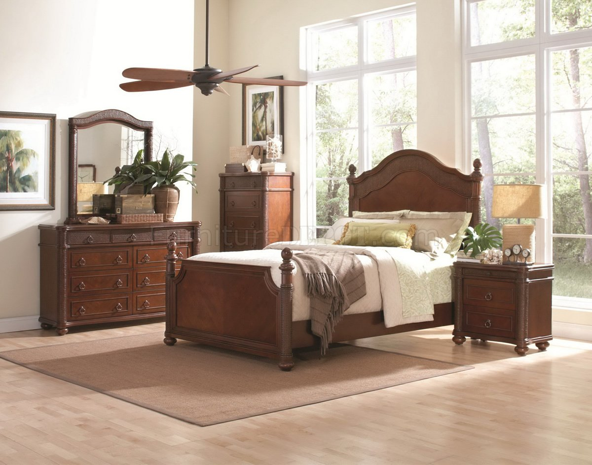 Tropical Bedroom Furniture Sets Rich Cherry Finish Classic Bedroom Set W Queen Bed Options CRBS