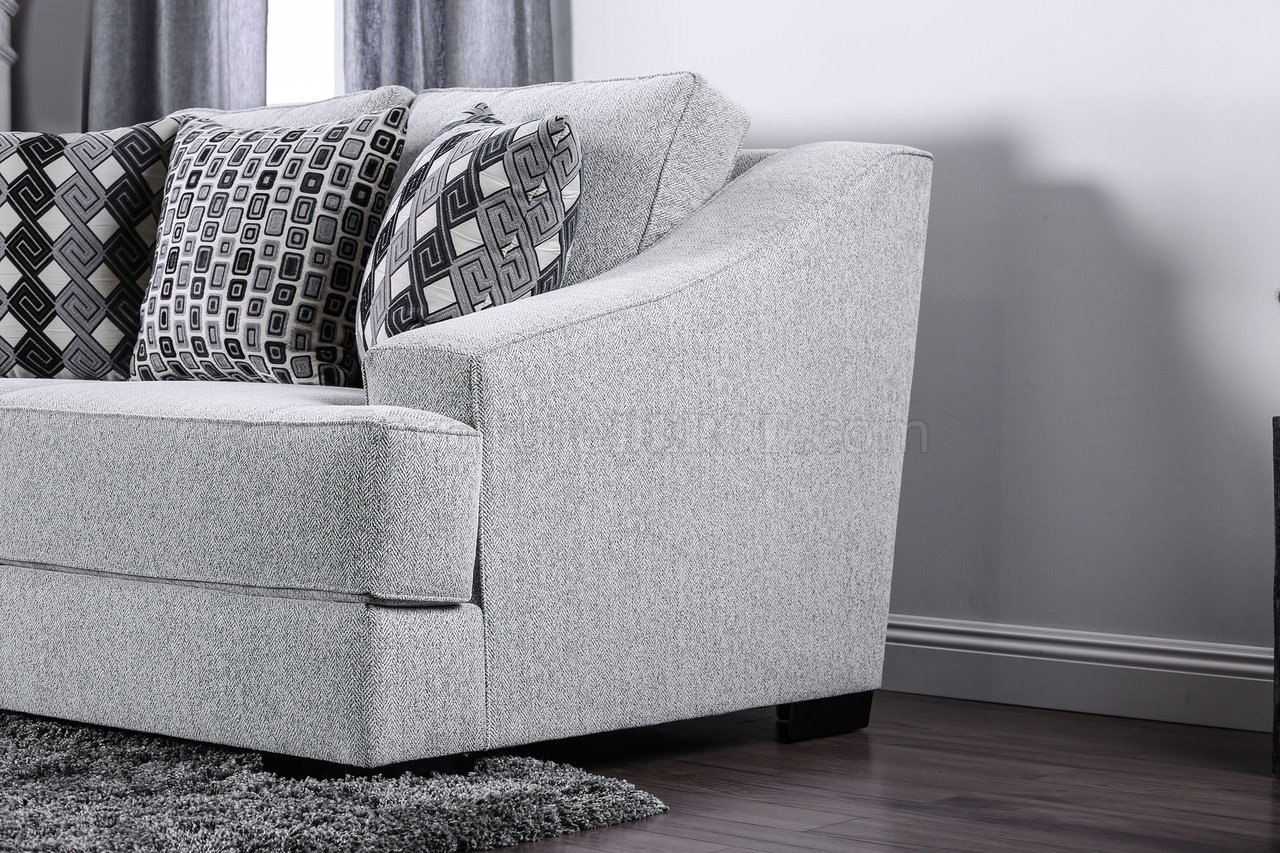 Lesath Sofa Sm2251 In Light Gray Chenille Fabric W Options