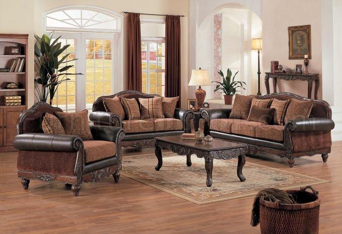 Dark brown full leather chenille formal living room w for Mahogany living room ideas