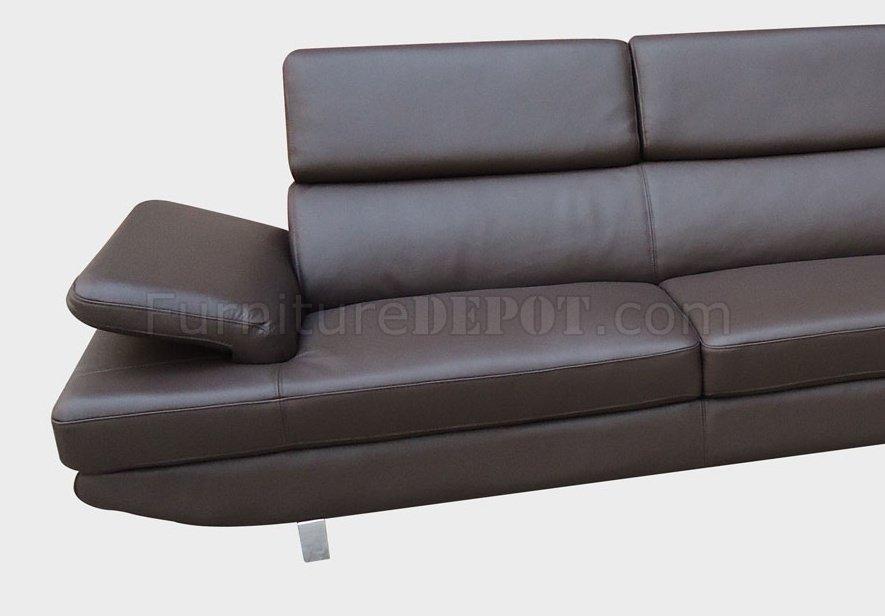 Brown Top Grain Full Leather Modern Sectional Sofa W Metal