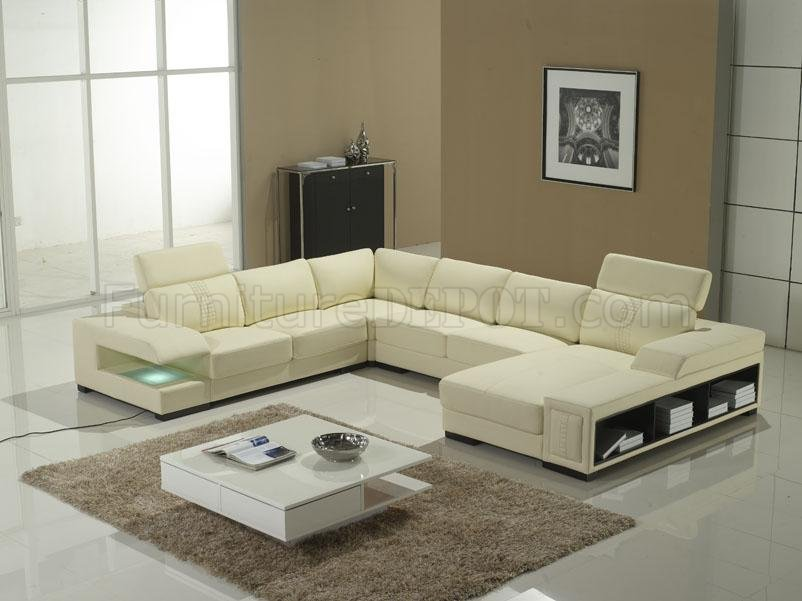 Beautiful T132 Sectional by VIG in Ivory Leather BW16