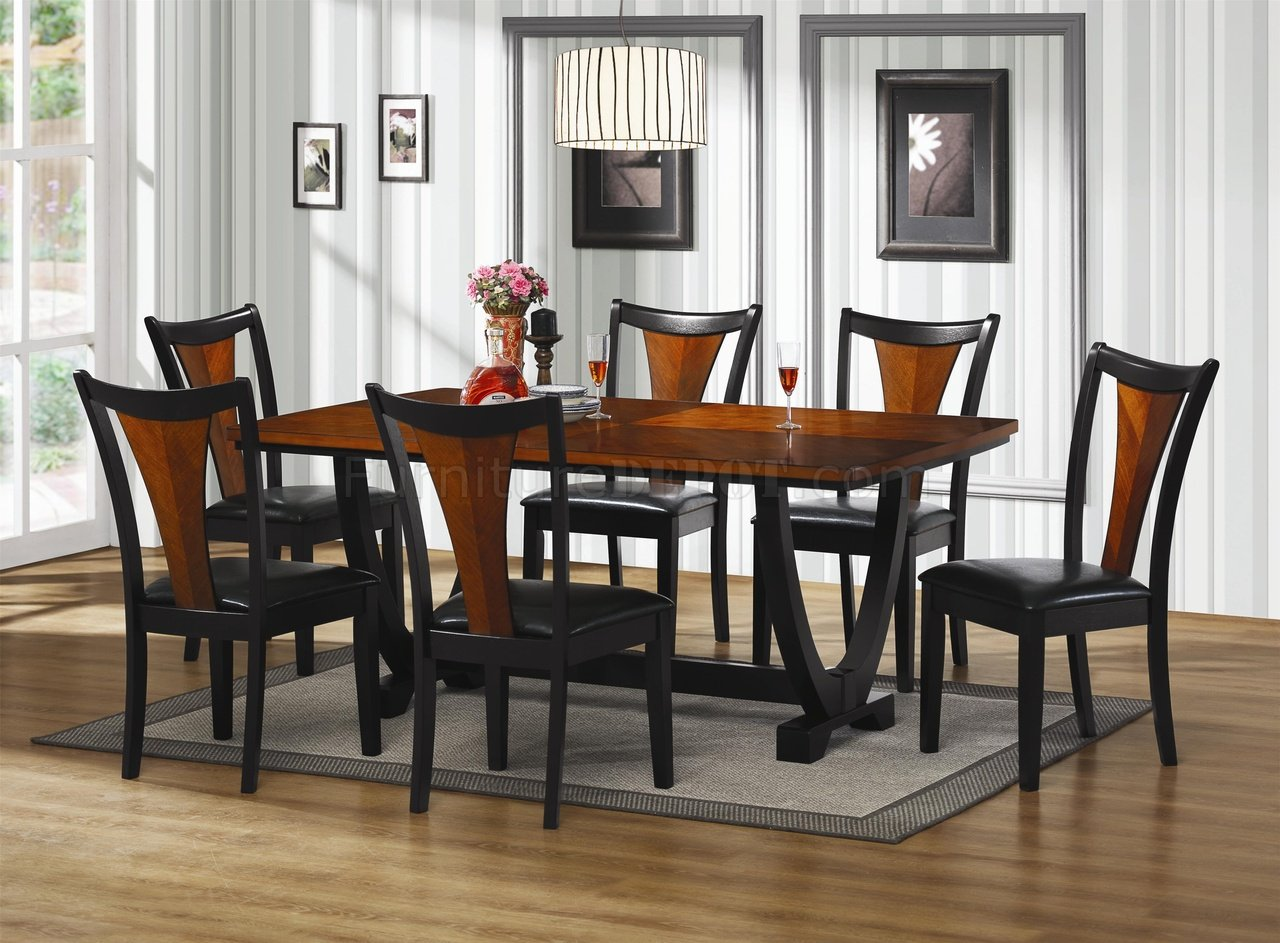 102090 Boyer Dining Table by Coaster in Cherry & Black w ...