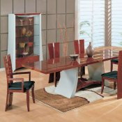 Two-Tone Cherry & Silver High Gloss Finish Classic Dining Room