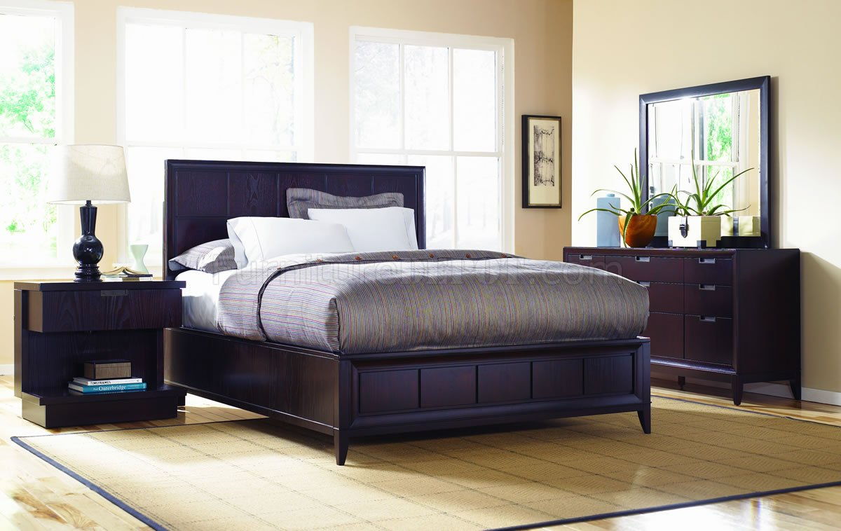 dark wood finish contemporary bedroom w optional casegoods mcbs 735