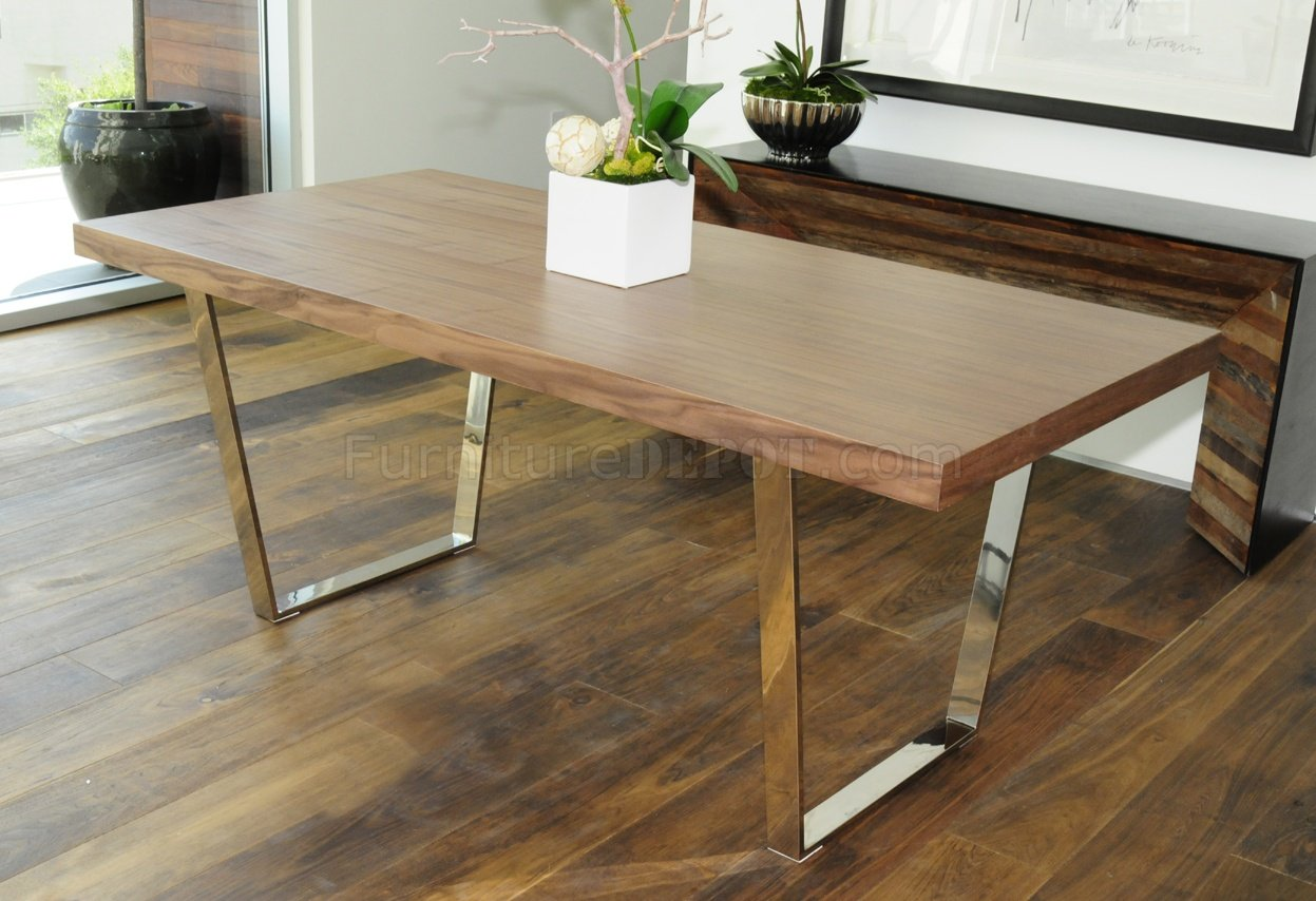 Walnut Espresso Or White Modern Dining Table W Metal Legs