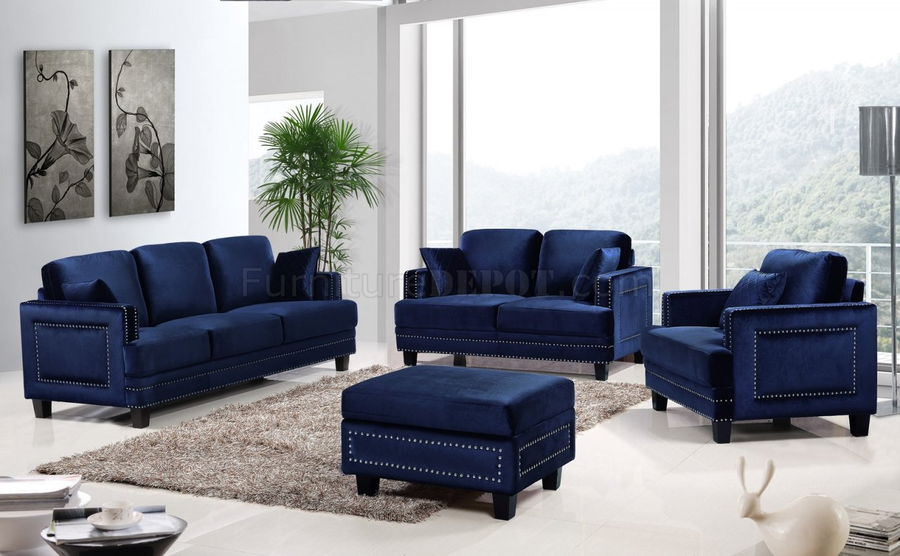 Ferrara sofa 655 in navy velvet fabric w optional items for Living room sofas and chairs