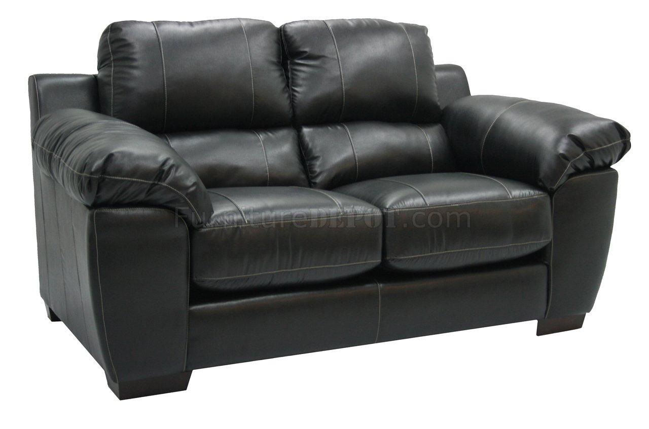 Black Bonded Leather Match Modern Sofa Set W Options