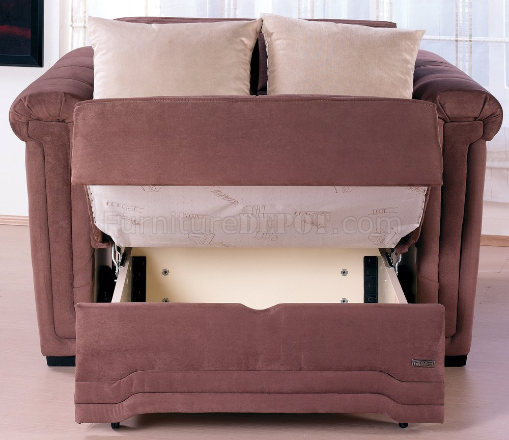 High Quality Truffle Microfiber Contemporary Pull Out Bed Loveseat
