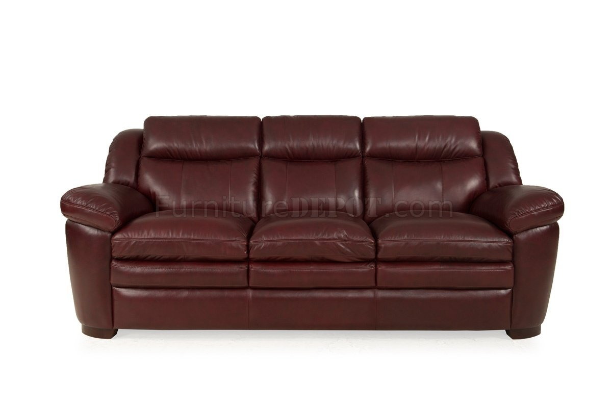 8550 sonora sofa loveseat in burgundy set by leather italia Burgundy leather loveseat