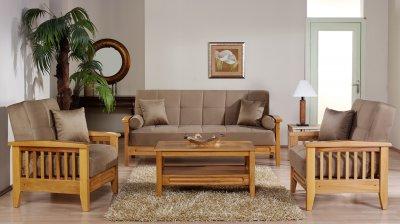 Beige Microfiber Living Room W Wooden Frame Storage