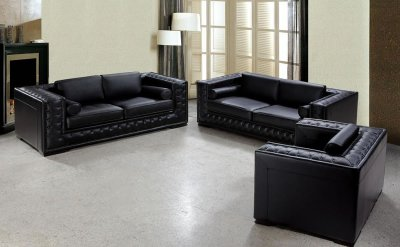 Living Room  Deals on Italian Leather Classic 3 Piece Living Room Set Dublin Bt0697 Black