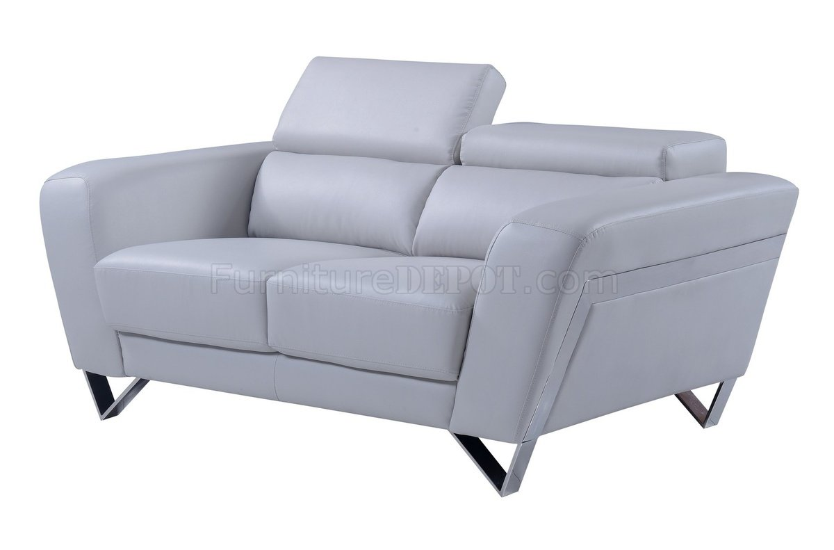 U7120 sofa 3pc set in light grey bonded leather by global for Light gray leather sofa