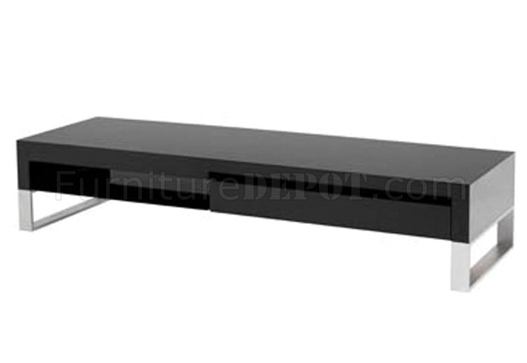 black high gloss laquer finish modern media unit w/metal legs