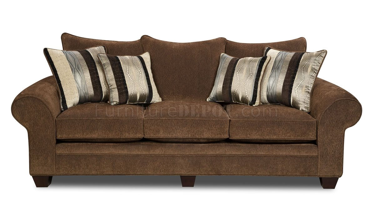Chocolate Fabric Casual Modern Loveseat Sofa Set W Options