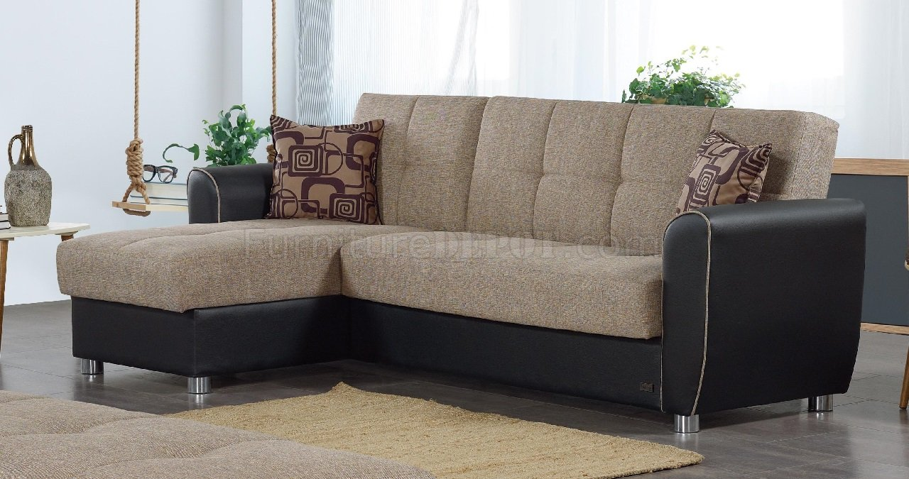 Maryland Sectional Sofa Convertible in Brown Fabric by Empire