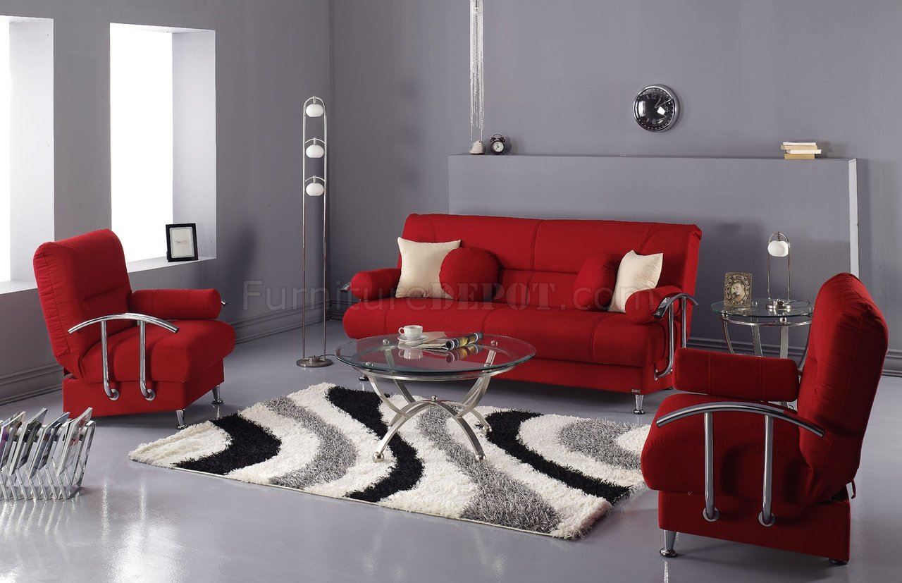 red furniture living room microfiber modern living room sofa bed w storage 15619
