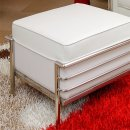 Le Corbusier Style Ottoman in White Leather