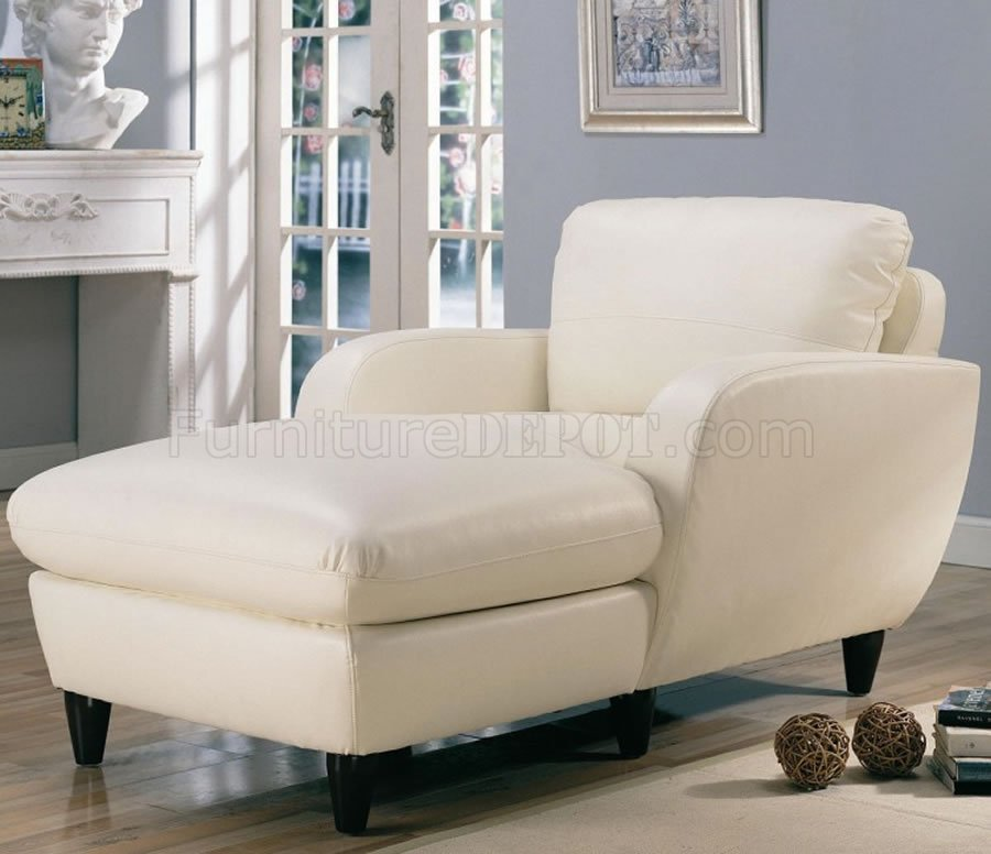 Retro Style Leather Living Room 502391 White