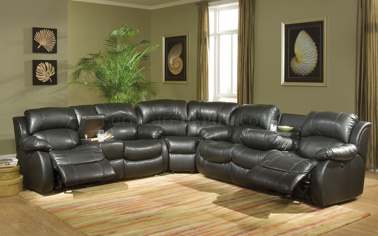 Transitional Black Bonded Leather Sectional W Recliner Mechanism