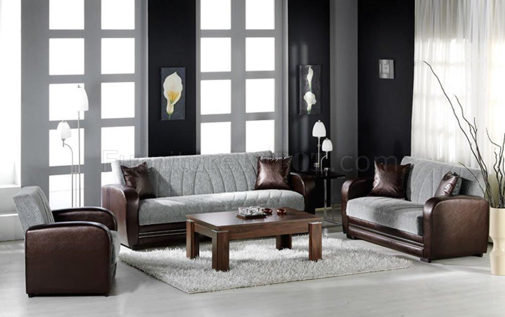 Elegant Two Tone Living Room With Sleeper Sofa Amp Storage
