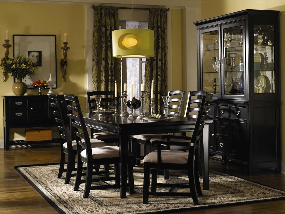 Black Finish Contemporary Dining Room W Shiny Silver Hardware