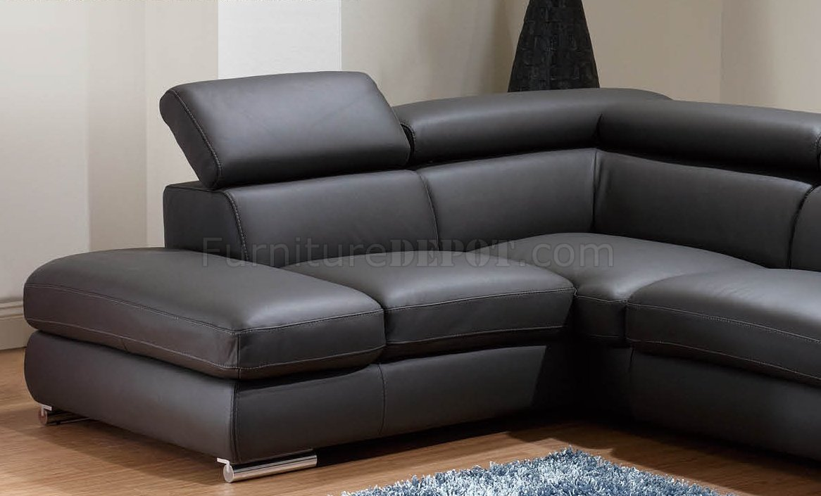 Grey Leather Modern Sectional Sofa WAdjustable Headrests - Dark grey leather sectional sofa