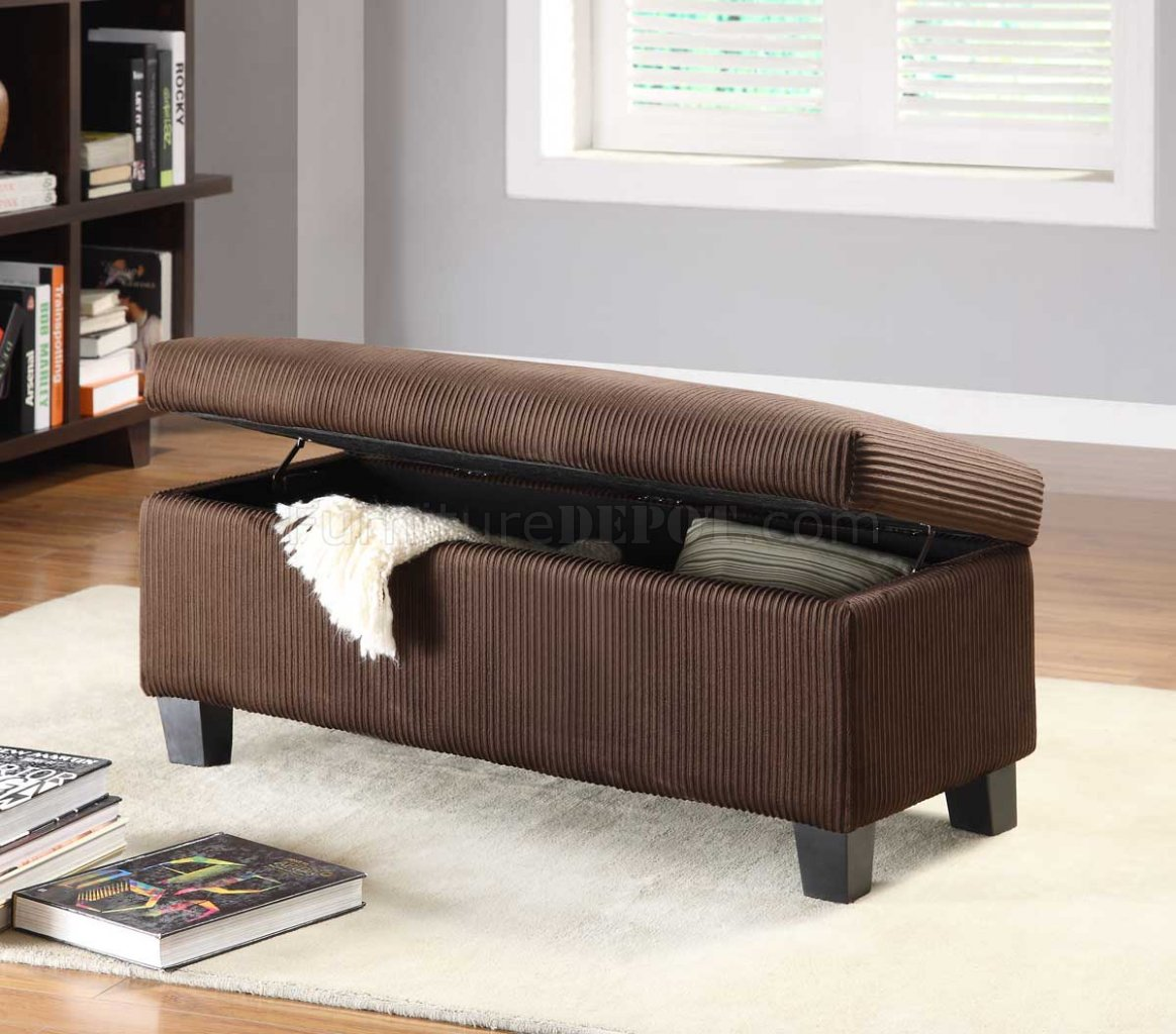 Dark Brown Vinyl Modern Lift Top Storage Bench