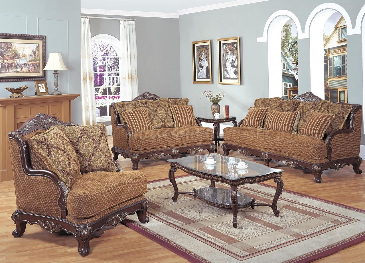 Classic colored traditional living room w carved wood frame for Traditional furniture