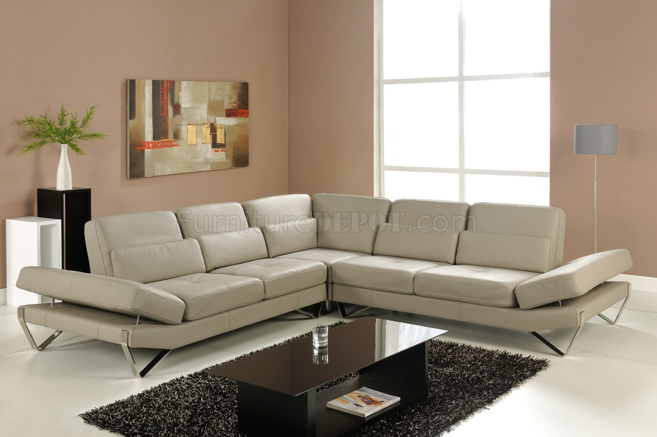 Bianca Sectional Sofa In Beige Leather By At Home Usa