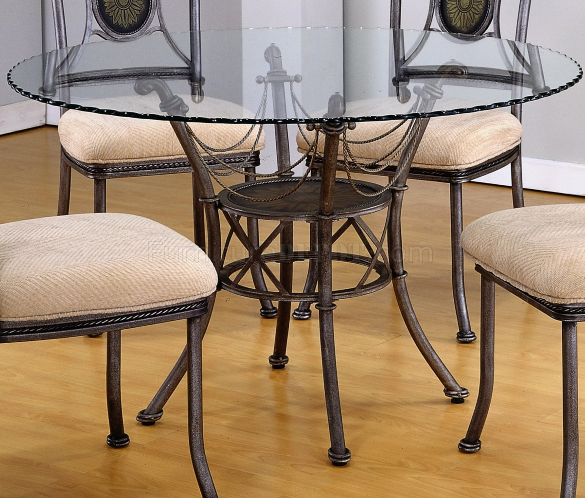 Round Glass Top Modern 5pc Dining Set W Gun Metal Base