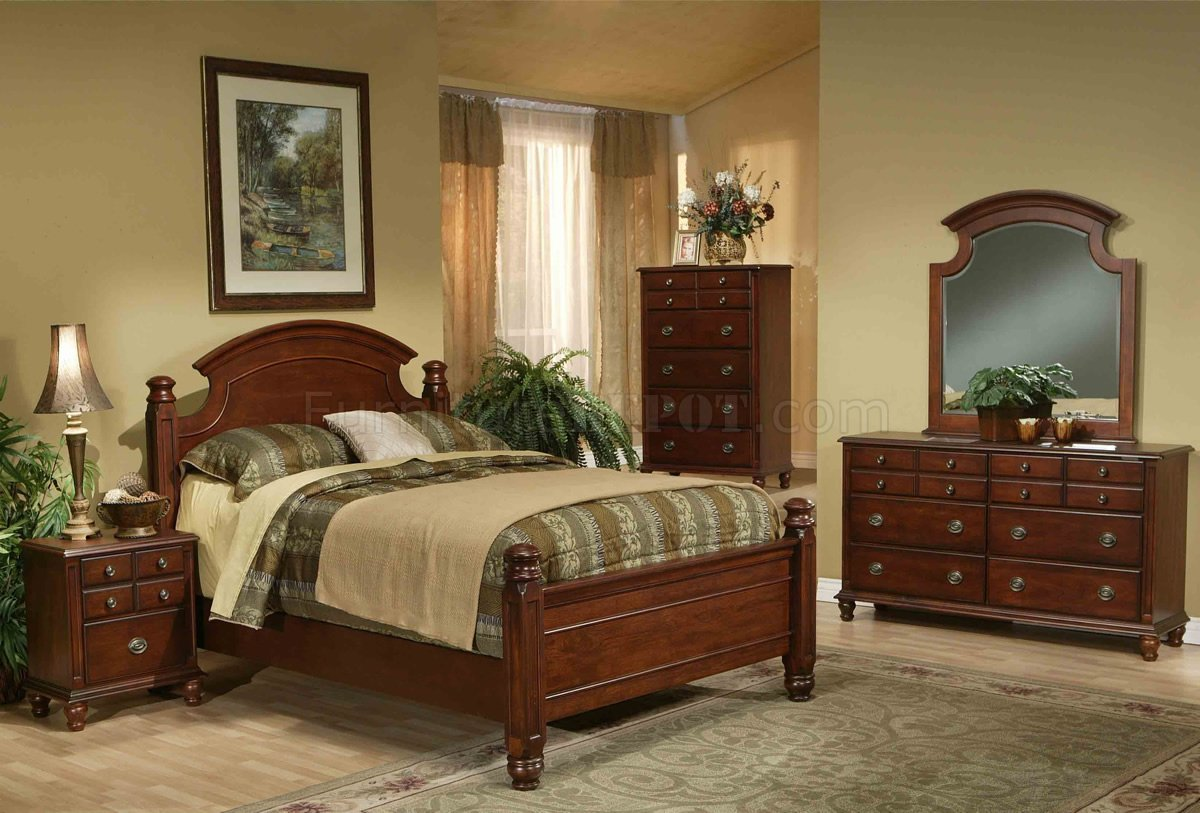 warm brown finish traditional bedroom set w arched headboard gybs