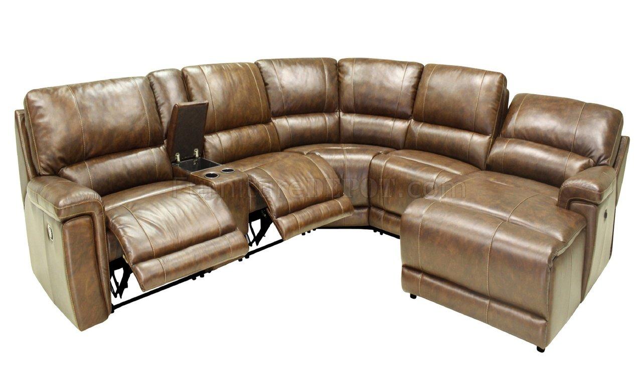 Hazelnut Full Leather 6pc Modern Motion Reclining