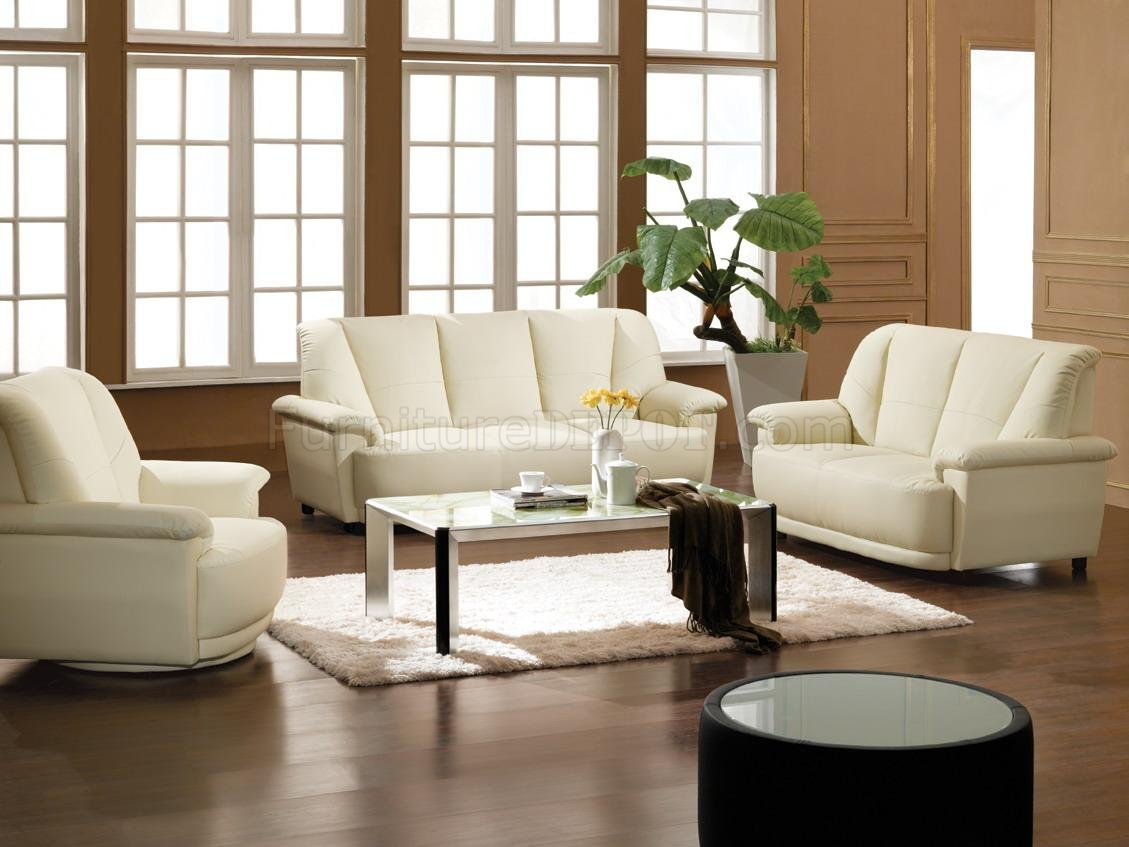 Bonded leather 3 piece living room set 2828 white for Living room sets