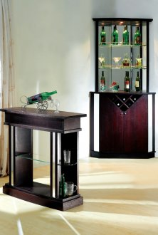 Wenge finish contemporary bar table w display glass shelves - Table basse bar wenge ...