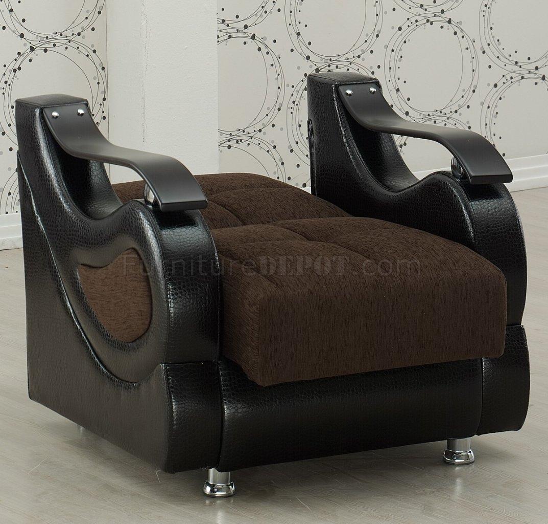 Modern Sofa Richmond: Richmond Sectional Sofa Convertible In Brown Fabric By Empire