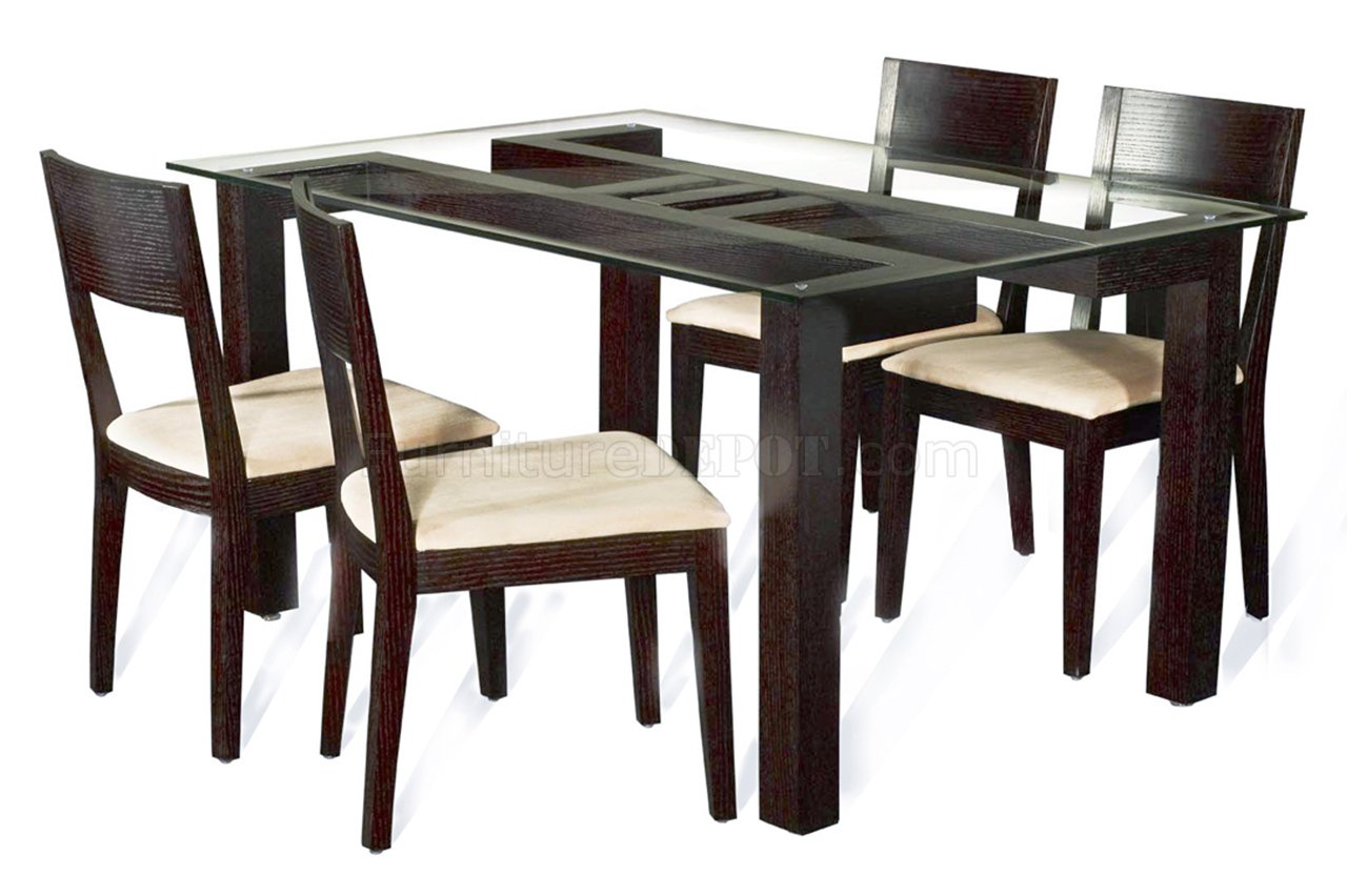 Rectangular clear glass top modern 5pc dining set w wood base for Dining table designs in wood and glass