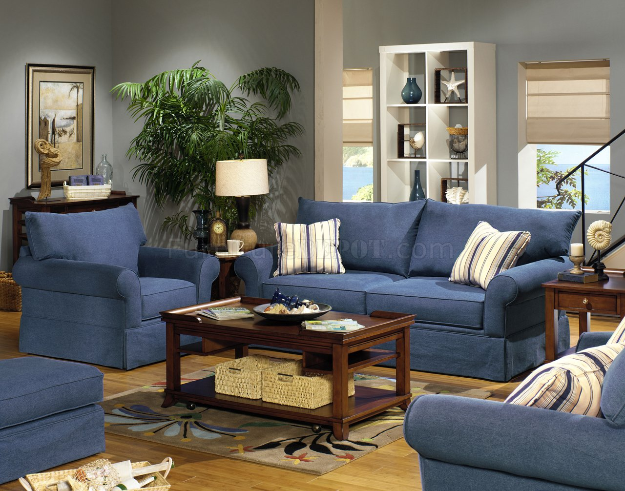 Blue Denim Fabric Modern Sofa Loveseat Set W Options