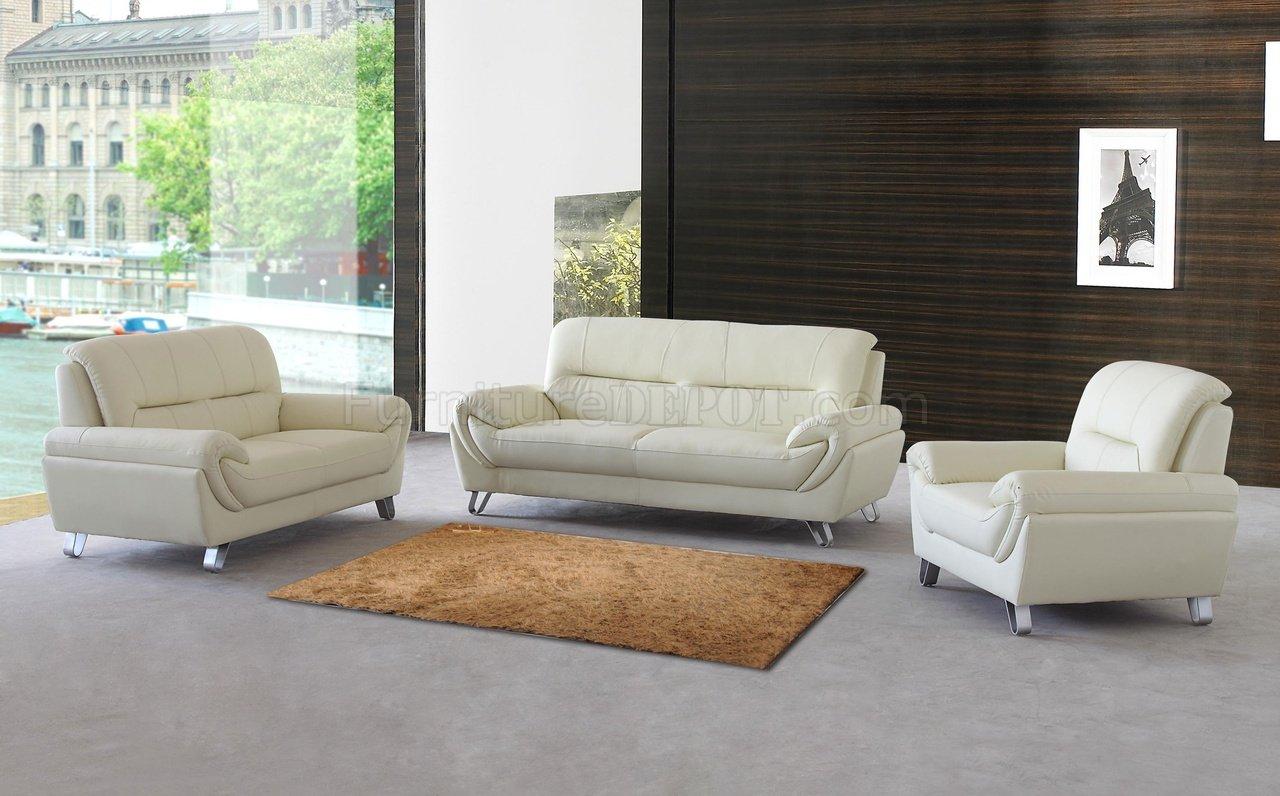 Almond Leather Modern Sofa Loveseat